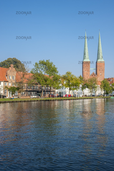 Historical cityscape at the Trave river in Luebeck