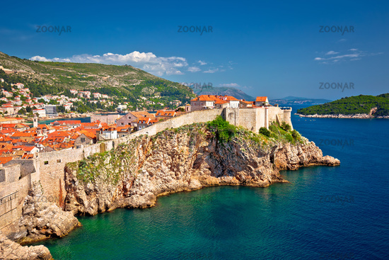 Town of Dubrovnik and stron defence walls view