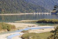 Sylvenstein reservoir with road bridge, Isar estuary, autumn, Bavaria, Germany