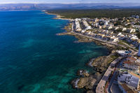 Aerial views, Can Picafort, bay and harbor, Mallorca, Balearic Islands, Spain