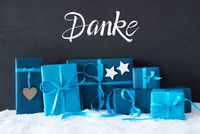 Turquois Gift, Snow, Danke Means Thank You
