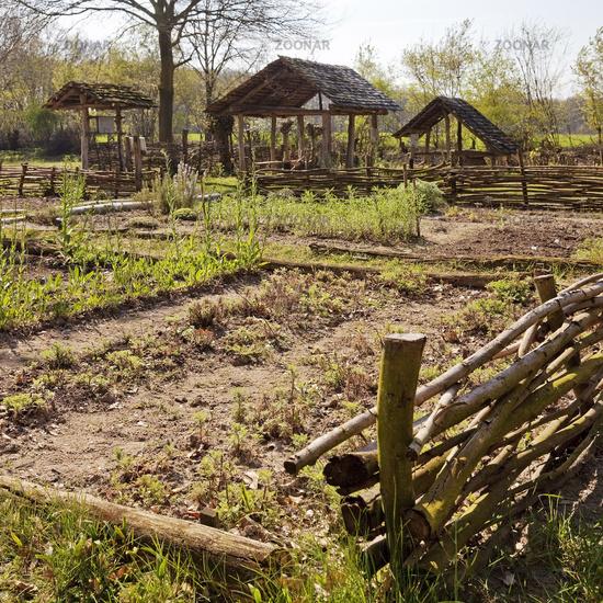 reflica of the garden of farmstead Sachsenhof, Greven, North Rhine-Westphalia, Germany, Europe