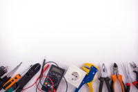 Electrician equipment on white background