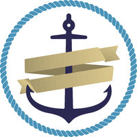 Flat anchor icon or logo with orange ribbon and circular rope. Isolated.