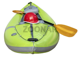 green inflatable whitewater kayak