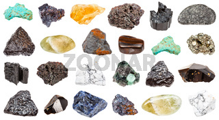 collection of minerals isolated on white