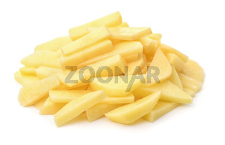 Pile of raw peeled chopped potatoes