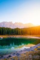 Carezza lake in Dolomites Alps . Italy