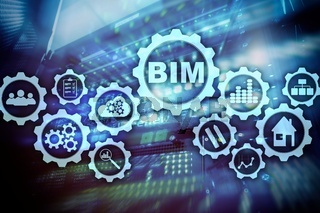 Building Information Modeling. BIM on the virtual screen with a server data center background
