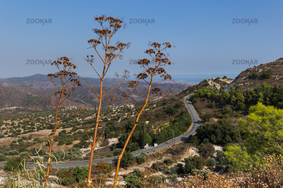Mountain road near village Lefkara on Cyprus island