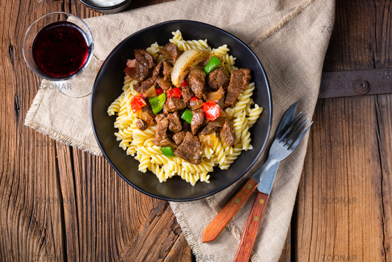 Fussili noodle with klaschise spicy goulash and paprika