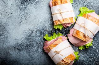 Fresh ciabatta sandwiches for lunch