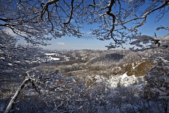 Ruhr valley in winter from Wartenberg, Witten, Ruhr Area, North Rhine-Westphalia, Germany, Europe