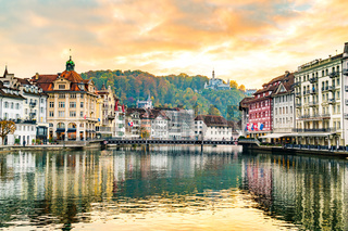 View of the historic city of Lucerne in the evening