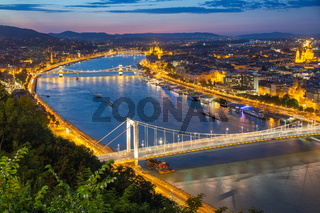 Aerial view Budapest with Elizabeth Bridge and Chain Bridge over Danube
