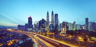 Kuala Lumpur city skyline at twilight