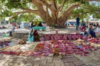 Street market in center of Aksum, Ethiopia Africa