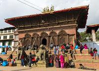 Shiva Parvati Mandir Temple supported by wooden braces, Kathmandu, Nepal