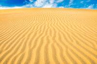 Landscape of desert dunes and blue sky