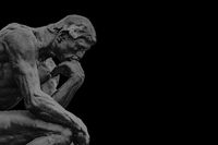 Thinker Sculpture Black Background Template