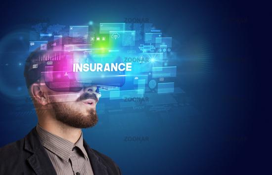 Businessman looking through Virtual Reality glasses