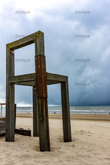 Giant wooden chair at the seaside