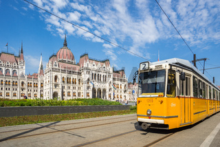 Budapest Tram with Hungarian Parliament Building in Budapest city, Hungary