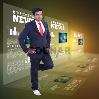 Business man looking business news
