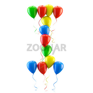 3D rendering Colorful balloons letters isolated over white.