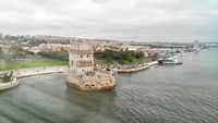 Tourist Destinations. Belem Tower on Tagus River in Lisbon