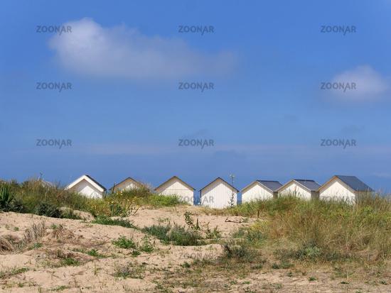beach huts in Ouistreham, France