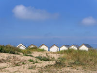 beach huts in Ouistreham, France