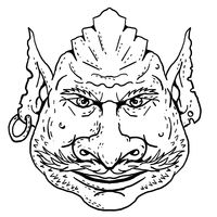 Goblin Front View Portrait Cartoon Retro Drawing