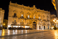 Night shot of square and baroque building in beautiful ancient Italian city (Syracuse) on the island