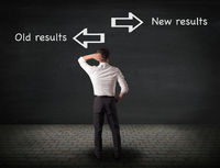 Old results vs new results, mindset or change business concept