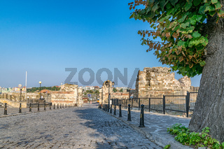 Ancient ruins at the entrance of the Nessebar ancient city, one of the major seaside resorts on the Bulgarian Black Sea Coast. Nesebar, Nesebr is a UNESCO World Heritage Site. Ruins in Nessebar
