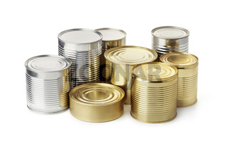 Group of food tin cans