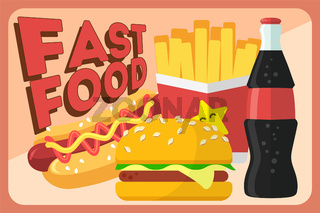 Colorful Fast food vector retro banner. Fast food hamburger dinner and restaurant, tasty set fast food many meal and unhealthy fast food classic nutrition in flat style.
