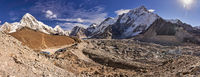 View over Khumbu glacier to the mountains Nuptse and Pumori in Nepal