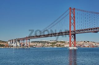 The 25 April bridge (Ponte 25 de Abril) is a steel suspension bridge located in Lisbon, Portugal, crossing the Tagus river. It is one of the most famous landmarks of the region