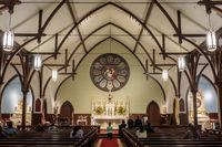 Menlo Park, California - October 2, 2019: Prayers in Church of the Nativity.