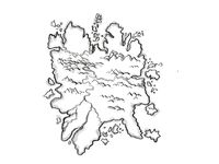 Island With Mountains and Rivers Vintage Fantasy Map Cartoon Retro Drawing