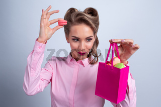 Woman with bag of macaroons