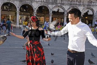 Tourists feed pigeons