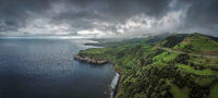 Aerial photograph of a coastal region on Sao Miguel