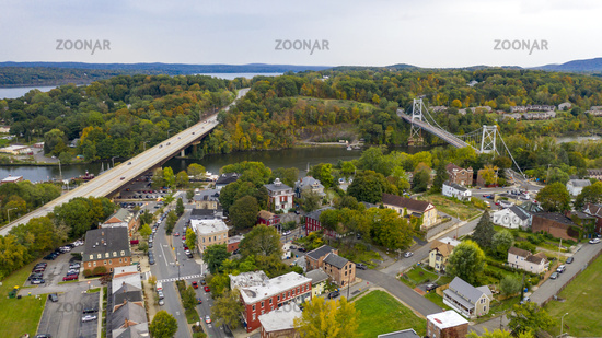 Aerial View Over Broadway Street South Kingston New York