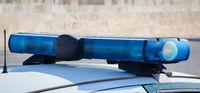 Blue light of a police car, car, fire engine blue