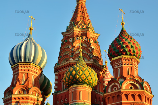 Domes of St. Basil's Cathedral on red square, 16-th century. Moscow, Russia