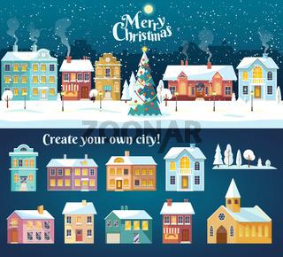 Snowy night in cozy christmas town city panorama. Snowy street with Christmas tree. Winter christmas village night landscape.