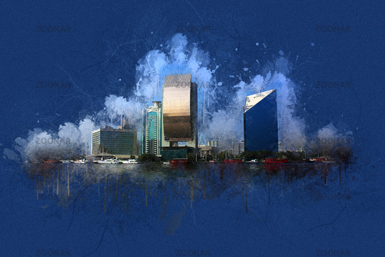 Digital Painting Dubai Creek Buildings, United Arab Emirates